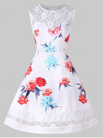Retro Lace Panel Floral Flare Dress