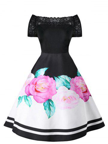 Chic Retro Lace Panel Floral Fit and Flare Dress