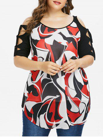 Hot Plus Size Abstract Print Cut Tie Sleeve T-shirt