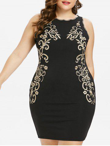 Latest Plus Size Embroidered Sleeveless Bodycon Dress