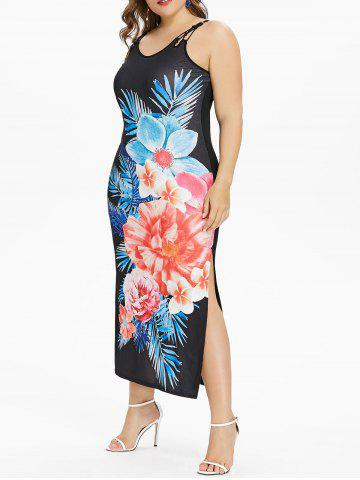 Unique Back Criss Cross Plus Size Floral Print Dress