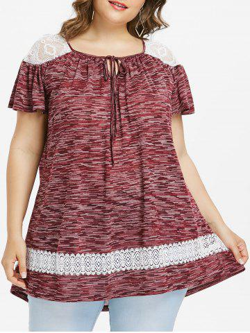 New Plus Size Marled Lace Panel Peasant T-shirt