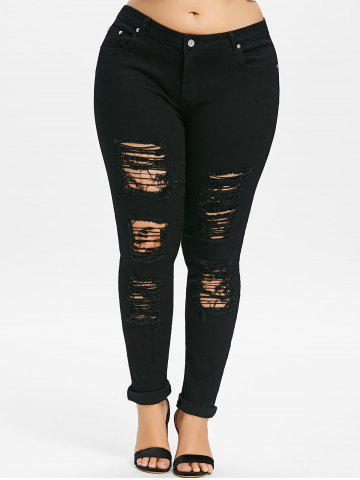Плюс Размер Ripped Distressed Jeans
