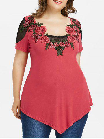 Trendy Plus Size Mesh Insert Embroidery T-shirt