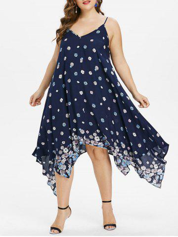 Chic Plus Size Tiny Floral Handkerchief Dress