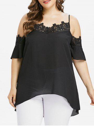 Online Plus Size Applique Cold Shoulder Blouse