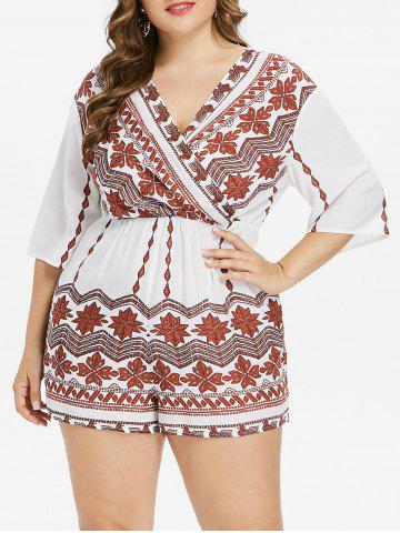 Buy Plus Size Bohemian Tribal Print Surplice Romper