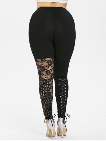 Fashion Plus Size Sheer Lace Trim Lace Up Leggings