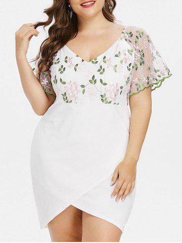 Shop Plus Size V Neck Bell Sleeve Embroidery Overlap Dress