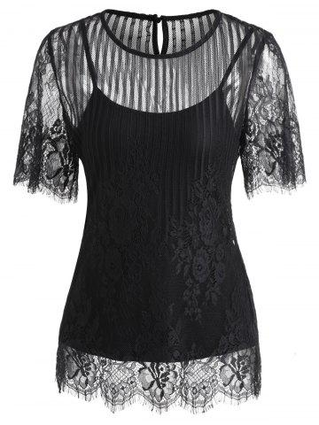New Short Sleeve Lace Blouse
