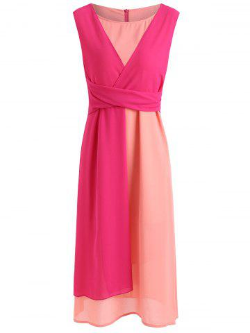 Outfit Color Block Patchwork Casual Midi Dress
