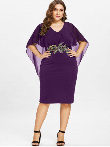 Plus Size V Neck Capelet Dress