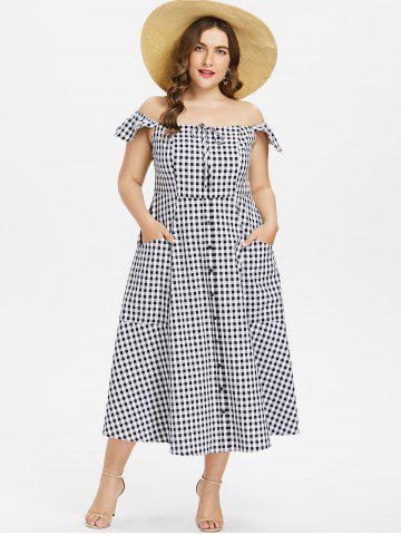 Cheap Plus Size Gingham A Line Dress
