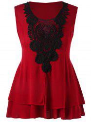 Plus Size Lace Crochet Panel Layered Tank Top -