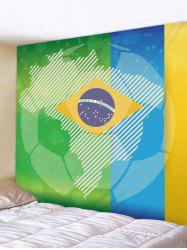 Flag of Brazil Football Print Wall Hanging Tapestry -