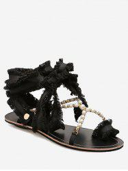 Frayed Edge Faux Pearls Crisscross Flat Heel Sandals -