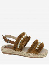 Casual Vacation Frayed Edge Faux Pearls Buckled Sandals -