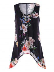 Lace Up Floral Print Chiffon Tank Top -