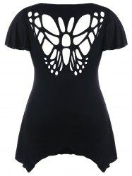 Plus Size Cut Out Butterfly T-shirt -