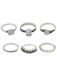 6Pcs Carved Crown Faux Gem Decorative Ring Set -