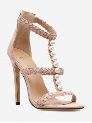 Pearl Decorate Stiletto Heel Sandals -