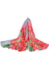 Lightweight Floral Printed Silky Fall Spring Scarf -