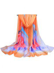 Soft Flower Printed Silky Shawl Scarf -