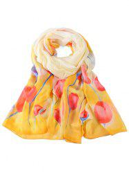 Soft Floral Pattern Embellished Long Scarf -