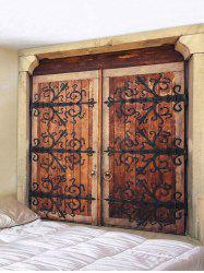Wall Hanging Art Retro Wooden Door Print Tapestry -