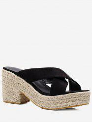 Crisscross Slip On Platform Espadrille Sandals -
