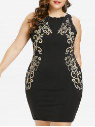 Plus Size Embroidered Sleeveless Bodycon Dress -