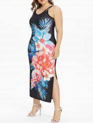 Back Criss Cross Plus Size Floral Print Dress -