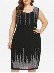 Plus Size Sleeveless Glittery Embellished Dress -