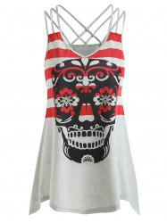 Skull Stripe Print Asymmetrical Tank Top -