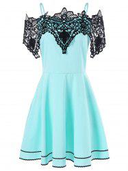 Cold Shoulder Lace Panel Skater Dress -