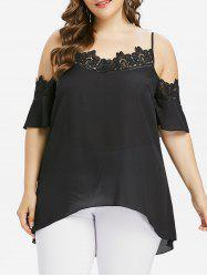 Plus Size Applique Cold Shoulder Blouse -