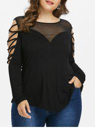 Plus Size Cross Sleeve Mesh Yoke Top -