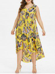 Plus Size Hawaiian V Neck High Low Dress -