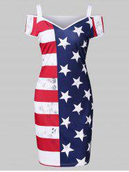 American Flag Print Cold Shoulder Dress -