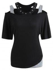 Rivet Embellished Cut Out T-shirt -