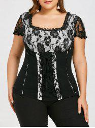 Plus Size Lace Up Square Neck T-shirt -