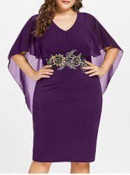 Plus Size V Neck Capelet Dress -