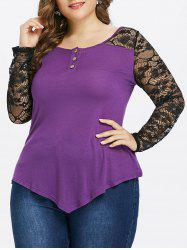 Plus Size Asymmetric Lace Sleeve Blouse -