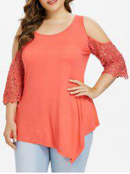 Plus Size Lace Cold Shoulder Asymmetric Blouse -