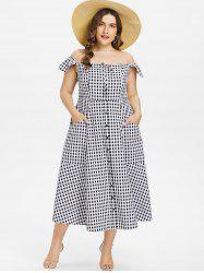 Plus Size Gingham A Line Dress -