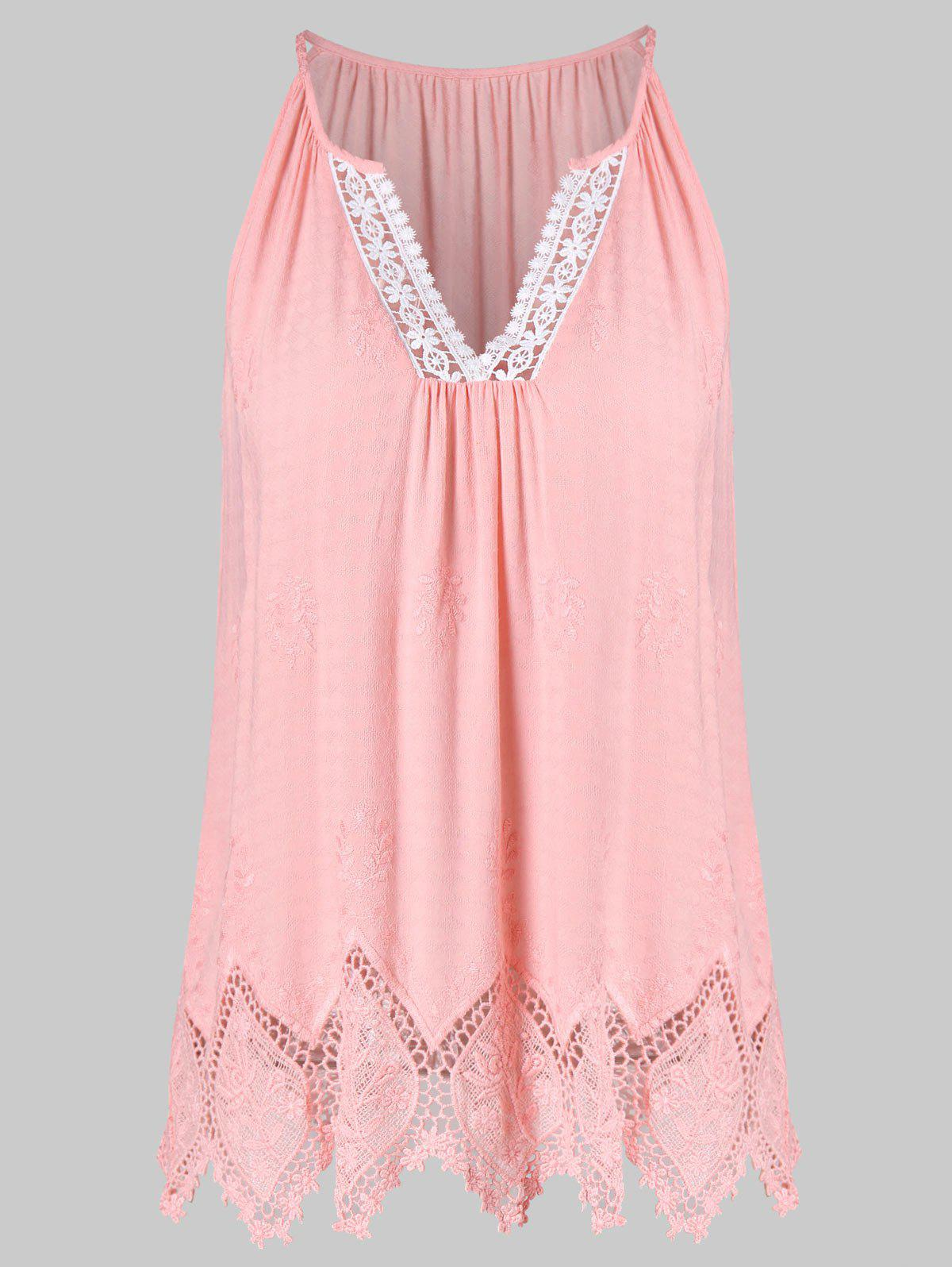 Unique V Neck Lace Embroidered Tank Top