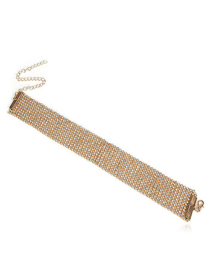 Chic Plated Faux Crystal Chain Choker Necklace