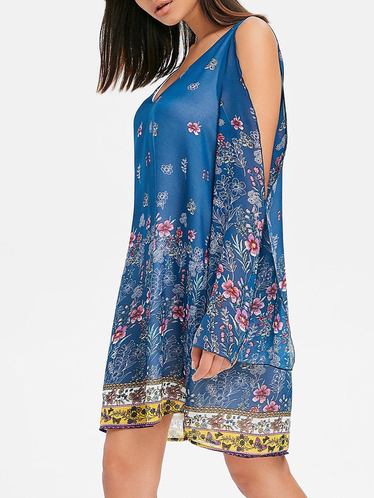 Affordable V Neck Split Sleeve Floral Chiffon Dress