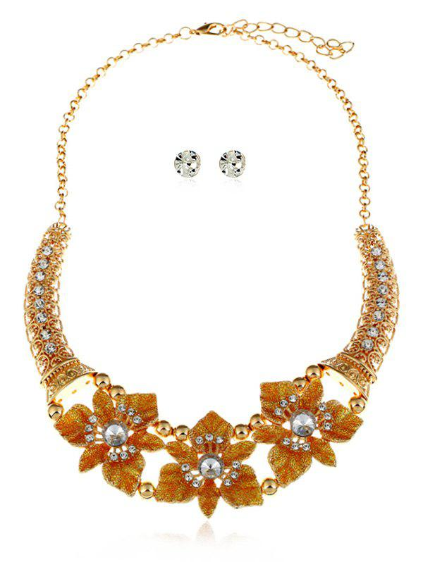 Shops Flowers Decoration Layered Rhinestone Necklace with Earrings