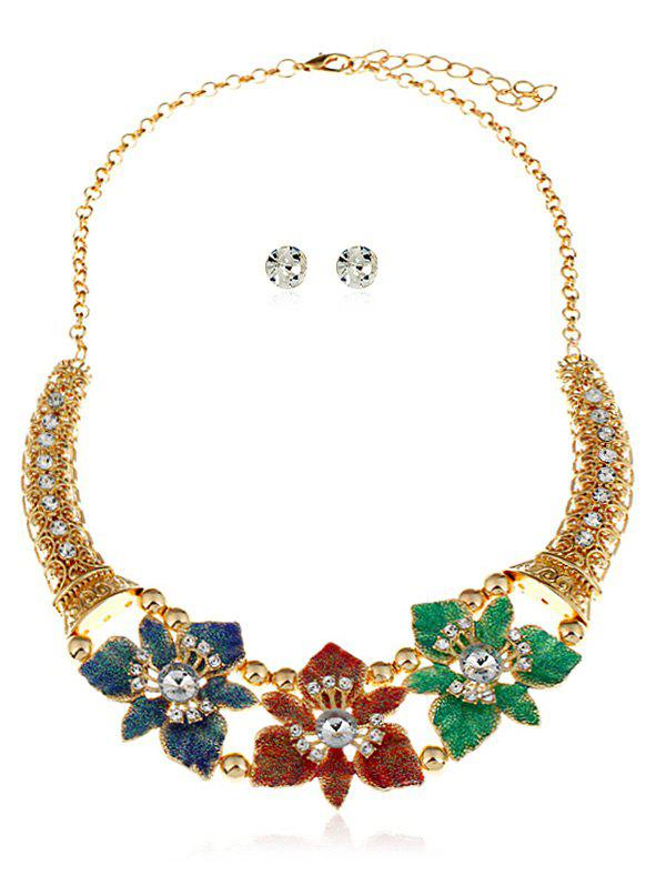 Unique Flowers Decoration Layered Rhinestone Necklace with Earrings